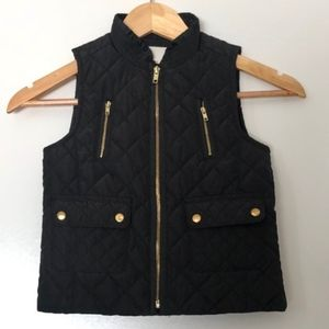 Copper Key Quilted Vest Girls 10/12 Black + Gold